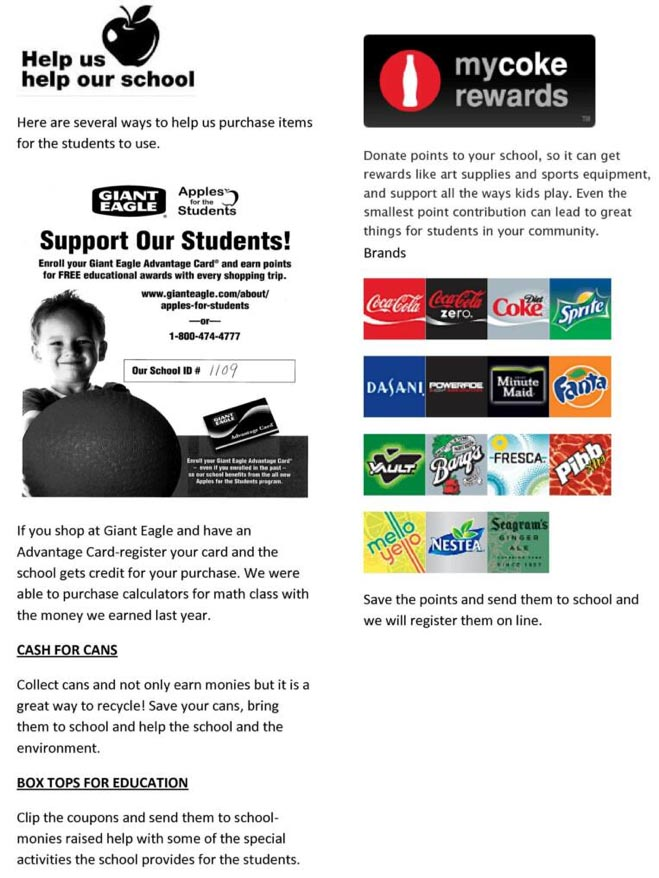 Here are several ways to help us help our school